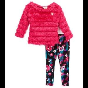 Juicy Couture Matching Sets - Juicy Couture Pink Ruffle Tunic & Floral Leggings